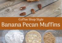 pinterest image for banana pecan muffins