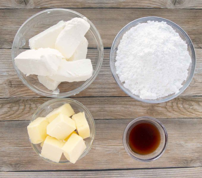 ingredients to make cream cheese frosting