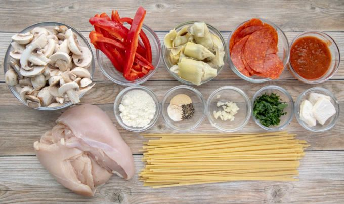 ingredients to make chicken pepperoni