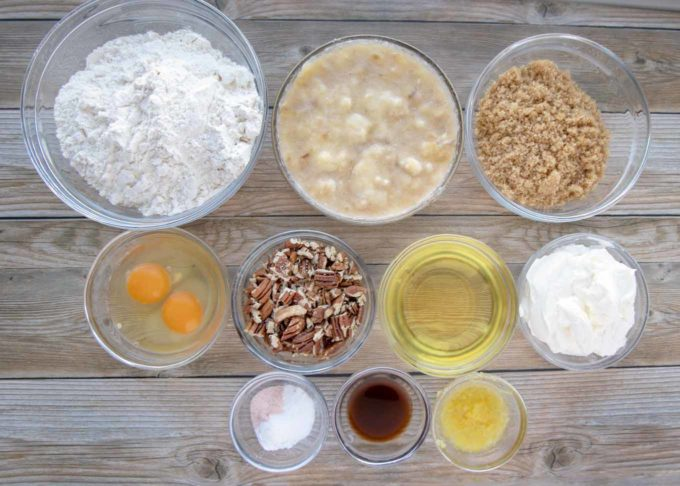 ingredients to make banana pecan muffins