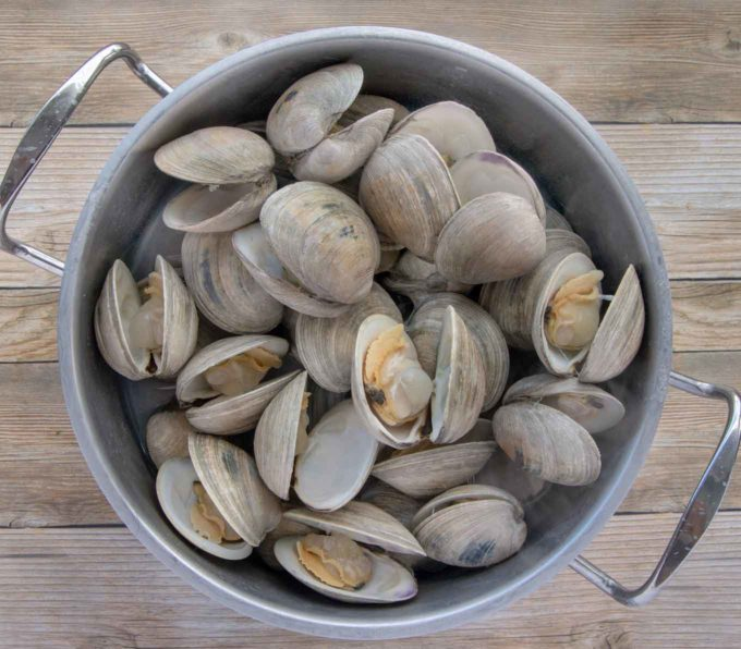 steamed clams in a large pot