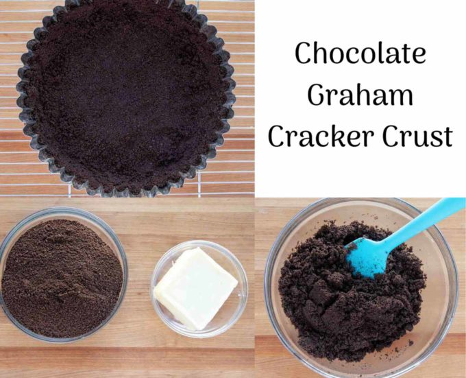 3 images of the chocolate crust process