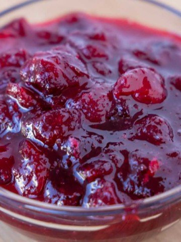 cranberry sauce in a glass bowl