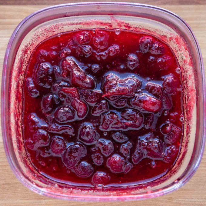 cranberry sauce in container for storage