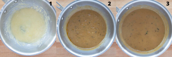3 images showing how to make the lamb pan gravy