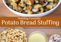 pinterest image for potato bread stuffing