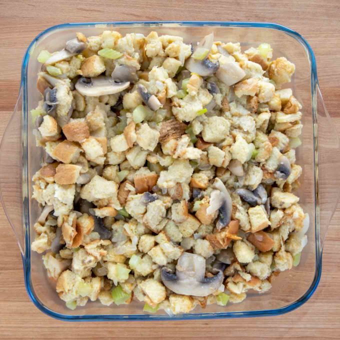 stuffing in a glass baking dish