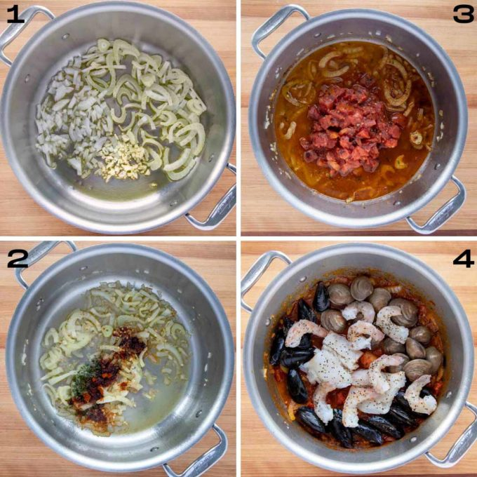 four images showing the process of making spanish seafood stew