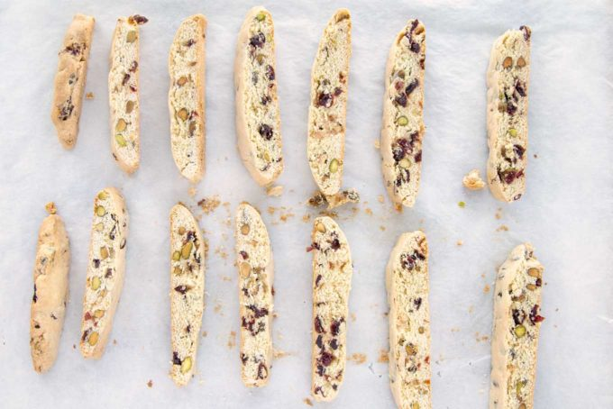 biscotti cut into cookies on parchment