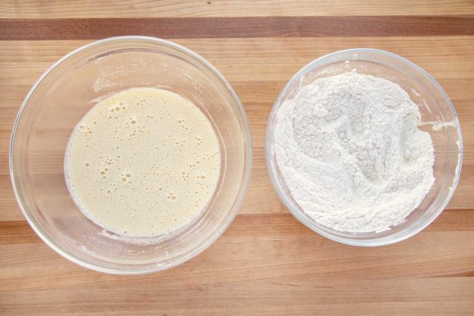 egg mixture and flour mixture in glass bowls