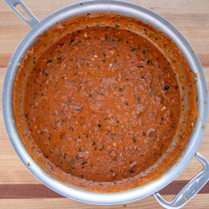 pot of impossible burger bolognese sauce