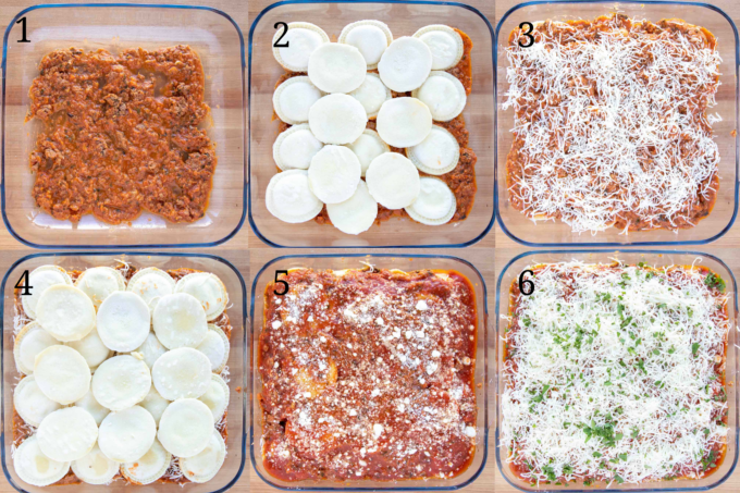 six step by step pictures of how to layer ravioli lasagna