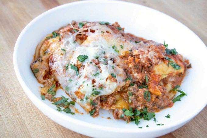 Ravioli Lasagna with Impossible Burger Bolognese - Chef Dennis