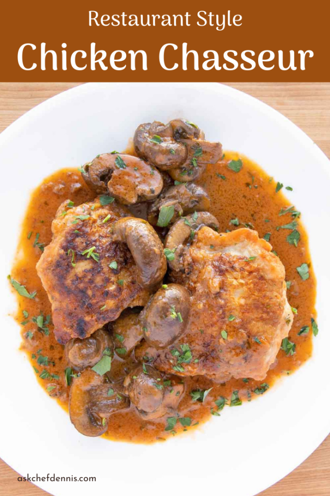 pinterest image for chicken chasseur