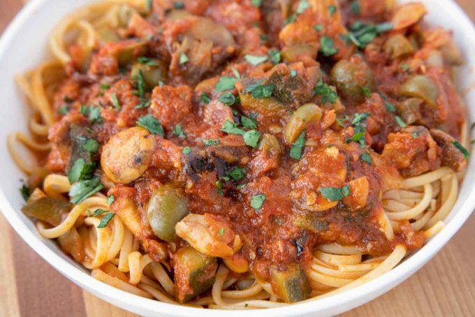 Restaurant Style Vegetarian Pasta in a Red Sauce - Chef Dennis