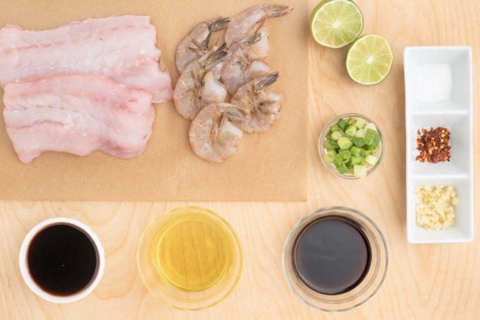 ingredients to make marinated grilled alaskan rockfish and shrimp