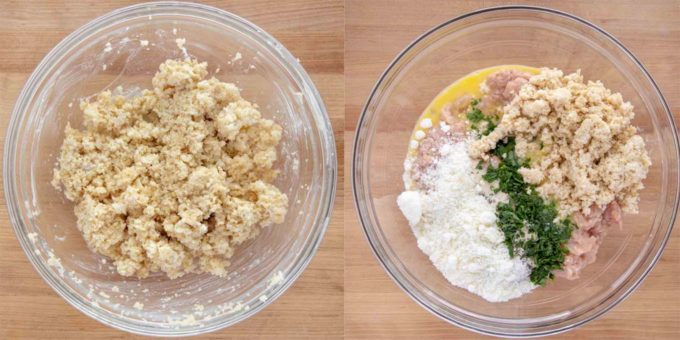 two pictures, one of the bread crumbs soaking in milk and the other of all the ingredients in a bowl