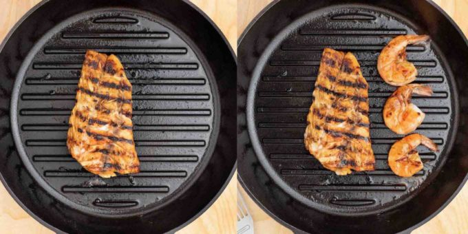 two images, one of the rockfish in a grill pan, and one of the rockfish and shrimp in the grill pan