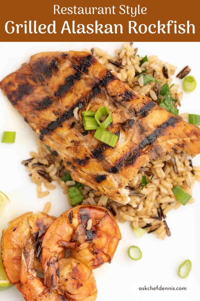Pinterest image for grilled alaskan rockfish with shrimp