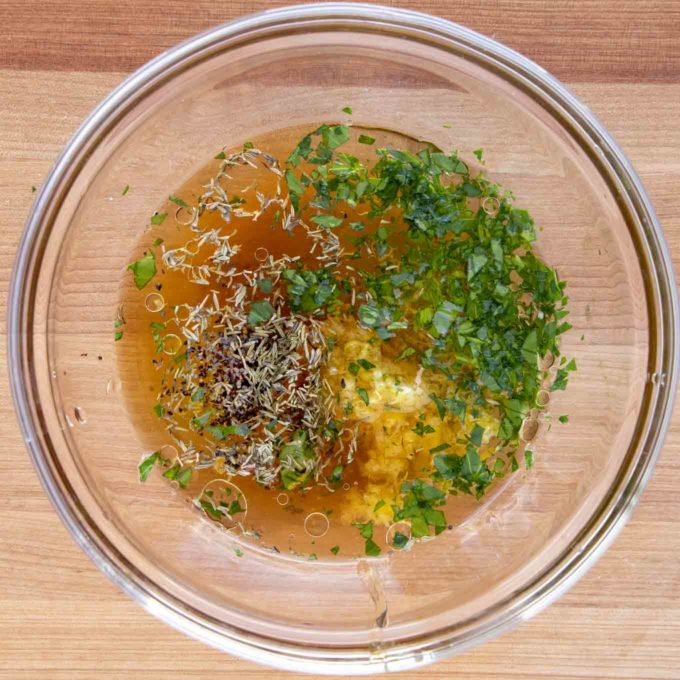 marinade for Irish whiskey salmon in a glass bowl