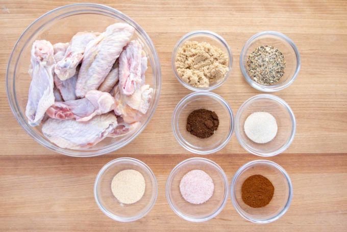 overhead view of ingredients to make dry rub lemon pepper chicken wings