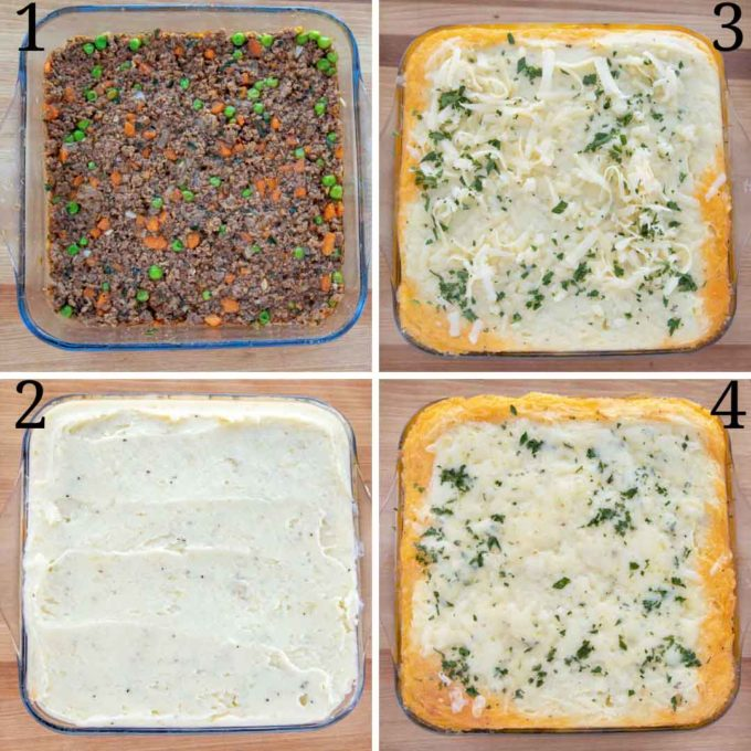 Collage of four images of the assembly of cottage pie