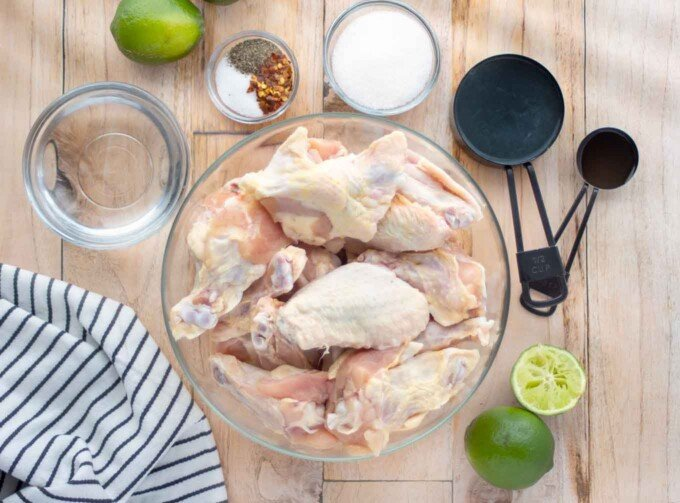 overhead view of ingredients to make drunken chicken wings