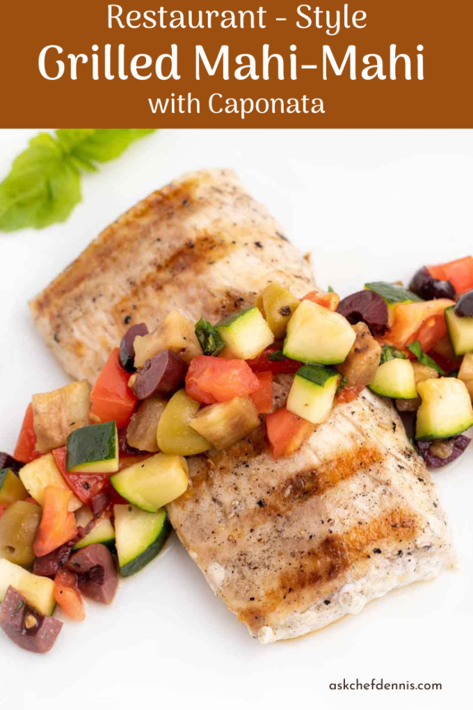 Pinterest image for grilled mahi-mahi with caponata