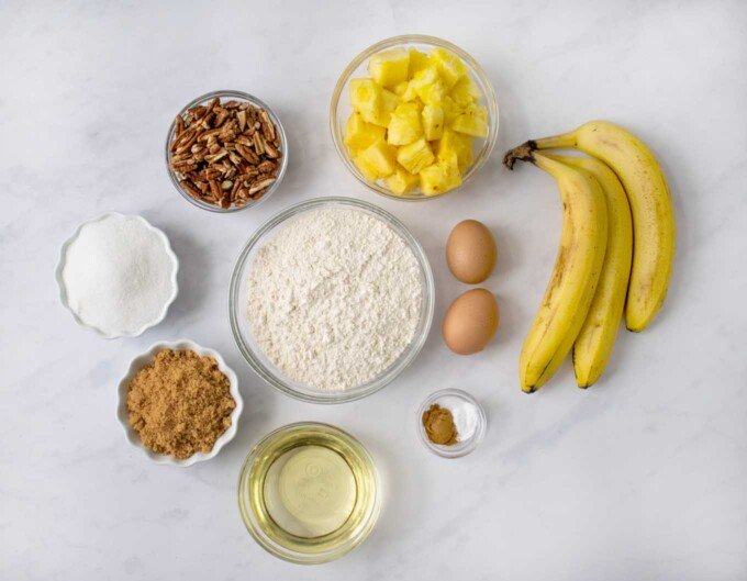 overhead view of ingredients to make a hummingbird cake