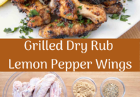 Pinterest image for grilled dry rub lemon pepper chicken wings
