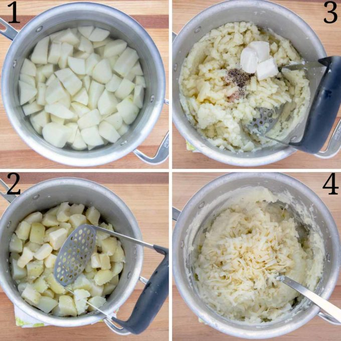 collage of four images showing how to make mashed potatoes