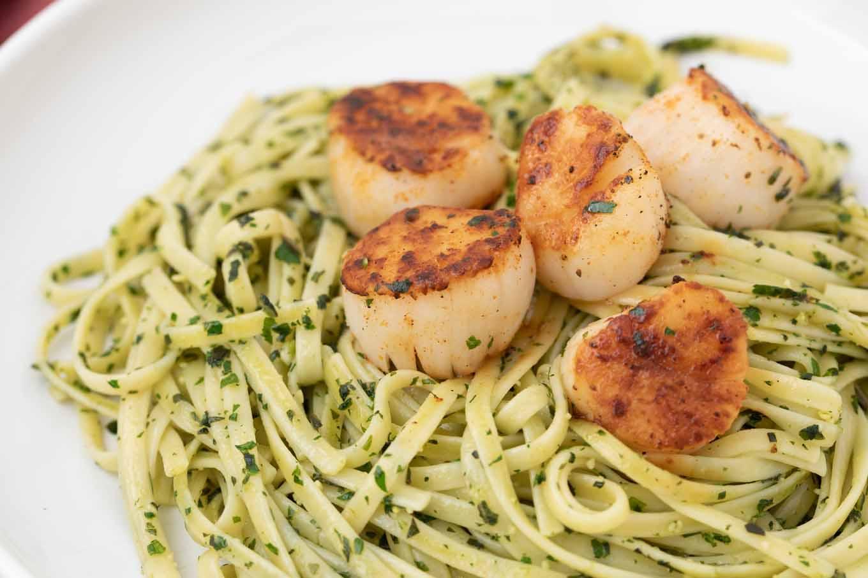 Pan Seared Scallops with Linguine al Pesto | Chef Dennis