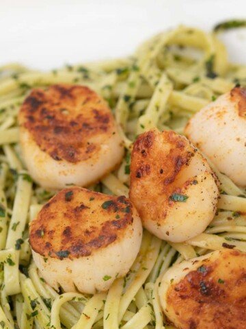 pan seared scallops on a bed of linguine alla pesto on a white plate