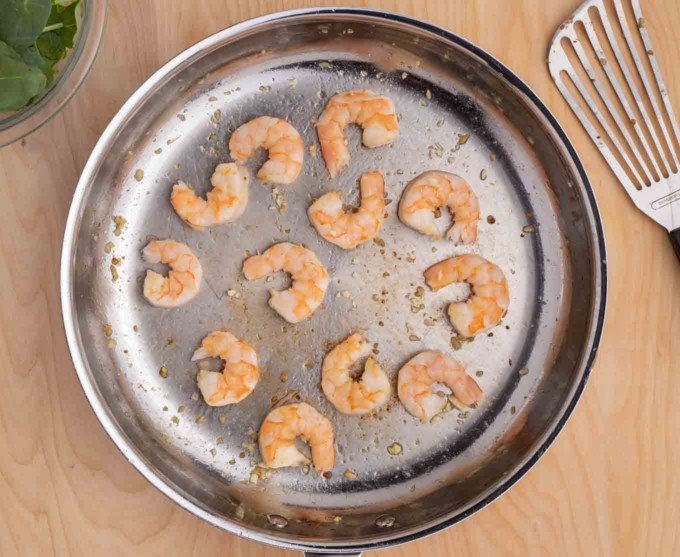 sauteed shrimp in a large skillet