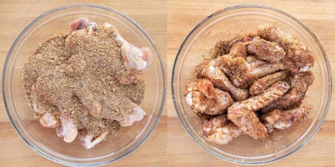 two images of rub added to wings and wings with rub on them
