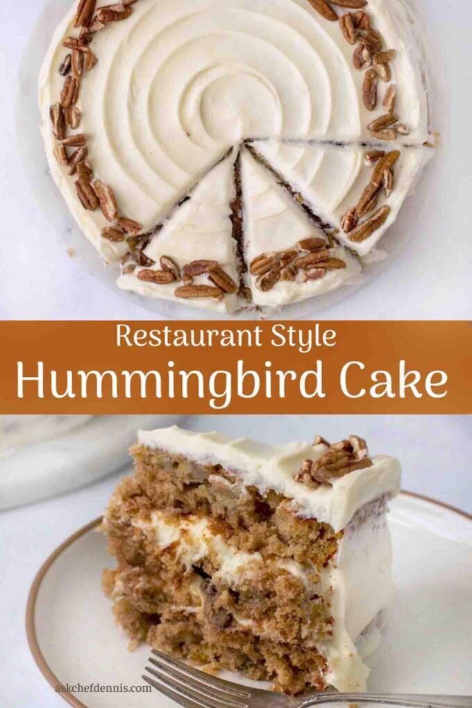 pinterest image for hummingbird cake