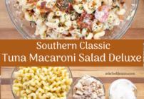 Pinterest image for tuna macaroni salad deluxe