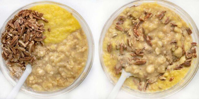 two images showing how to add nuts, banana and pineapple to cake batter