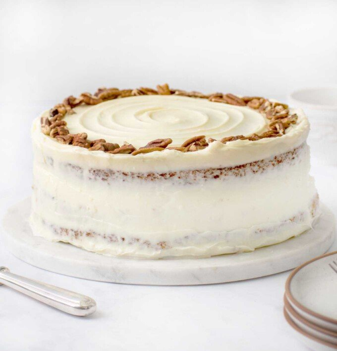 side view of frosted hummingbird cake