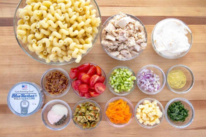 overhead view of ingredients to make Tuna Macaroni Salad Deluxe