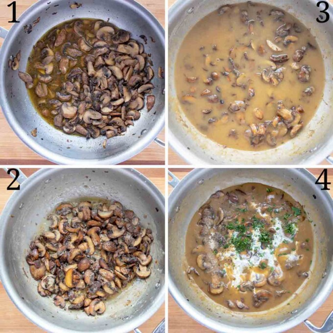 four images showing how to make mushroom marsala sauce