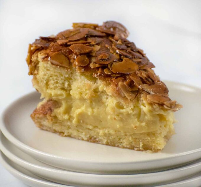 slice of bee sting cake on a plate