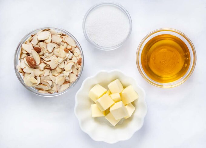 ingredients to make honey almond topping