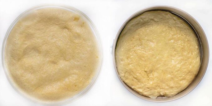 two images showing proofed dough in bowl and in springform pan