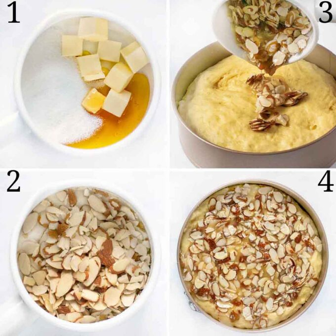 four images showing honey almond topping process