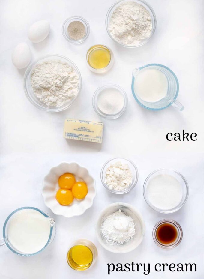 2 ima ges of ingredients to make cake and pasty cream