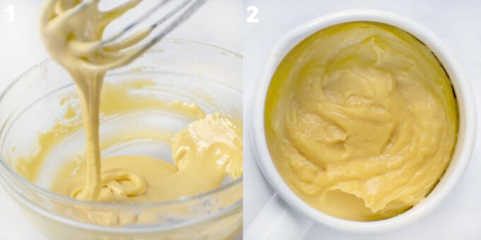 two images showing pastry cream process