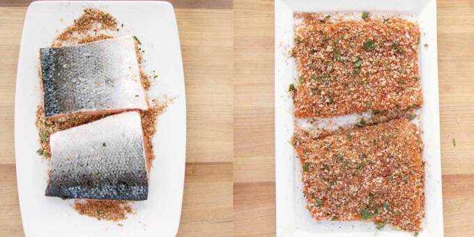 two images showing how to apply seasoning blend to salmon fillets