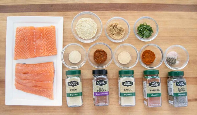 Ingredients to make pan seared seasoned salmon