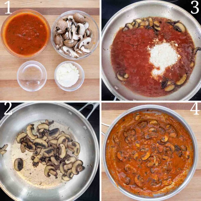 four images showing how to make mushroom red sauce